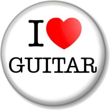 I Love / Heart GUITAR Pin Button Badge Musical Instrument guitars string Talent